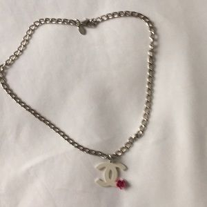 CHANEL white logo necklace w fuchsia flower!